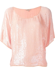 P.A.R.O.S.H. Sequin Short Sleeved Blouse Pink And Purple