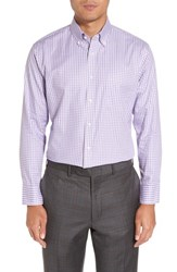 Nordstrom 'S Big And Tall Men's Shop Trim Fit Non Iron Gingham Dress Shirt Purple Violet