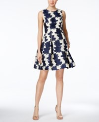 Vince Camuto Jacquard Fit And Flare Dress Navy Ivory