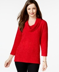 Style And Co. Petite Cowl Neck Eyelash Knit Sweater Only At Macy's New Red Amore