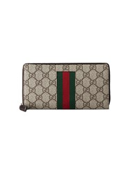 Gucci Web Gg Supreme Zip Around Wallet Nude Neutrals