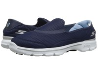 Skechers Go Walk 3 Unfold Navy White Women's Walking Shoes Blue