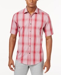 Alfani Men's Big And Tall Short Sleeve Ombre Plaid Shirt Only At Macy's Berry