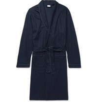 Zimmerli Bon Vivant Piped Waffle Knit Cotton Robe Navy