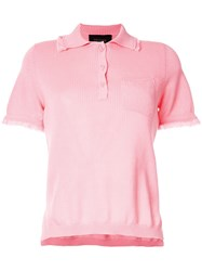 Mr And Mrs Italy Frayed Hem Polo Shirt Pink