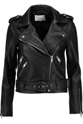 W118 By Walter Baker Allison Embroidered Leather Biker Jacket Black
