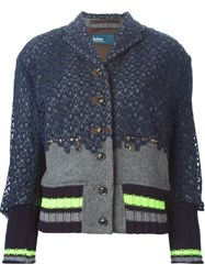 Kolor Embroidered Lace Overlay Jacket Blue