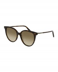 Bottega Veneta Squared Cat Eye Sunglasses Brown Tortoise Brown Pattern