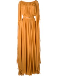 Elie Saab Pleated Belted Gown Yellow And Orange