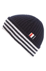 Thom Browne Men's Rib Knit Cashmere Beanie Blue Navy