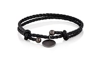 Bottega Veneta Men's Intrecciato Leather Double Band Bracelet Black