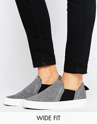 New Look Wide Fit Jersey Slip On Trainer Grey Black