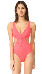 Shoshanna Cutout Twist One Piece Neon Coral