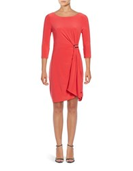 Adrianna Papell Knot Matte Jersey Dress Hot Coral