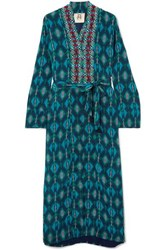 Figue Olatz Beaded Printed Crepe De Chine Coat Turquoise