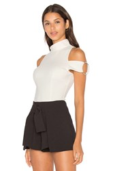 Lavish Alice Asymmetric High Neck Ring Detail Sleeve Bodysuit White