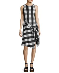 Rag And Bone Brighton Plaid Tank Midi Dress Black White Black White