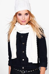 Boohoo Angel Cable Knit Beanie And Scarf Set Cream