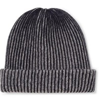 The Elder Statesman Striped Ribbed Cashmere Beanie Gray