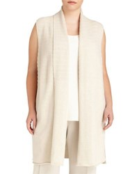 Lafayette 148 New York Ribbed Stripe Vest Beige