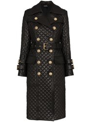 Balmain Quilted Double Breasted Trench Coat Black