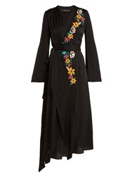 Etro Floral Embroidered Wrap Dress Black Multi