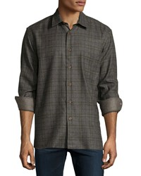 Luciano Barbera Plaid Wool Blend Sport Shirt Brown Green