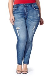 Mblm By Tess Holliday Plus Size Women's Zip Trim Distressed Stretch Skinny Jeans