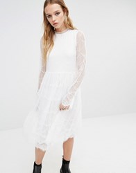 Navy London Midi Dress With Sheer Lace Sleeves White