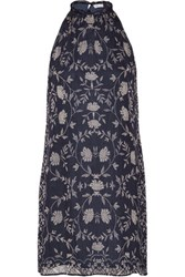 Chelsea Flower Printed Georgette Mini Dress Midnight Blue