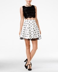 City Triangles City Studios Juniors' Embellished Lace Two Piece A Line Dress Black White