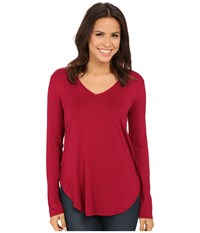 Culture Phit Kierra V Neck Top Wine Women's Clothing Burgundy