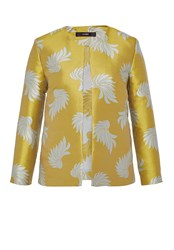 Hallhuber Jacquard Jacket With Leaf Pattern Yellow
