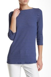 Bobeau 3 4 Sleeve Boatneck Stripe Tee Blue