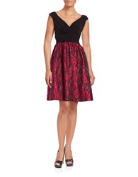 Adrianna Papell Plus Sleeveless V Neck Fit And Flare Dress Red Black