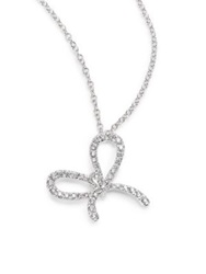 Kwiat Elements Diamond And 18K White Gold Bow Pendant Necklace White Diamond