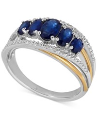 Macy's Sapphire 1 7 8 Ct. T.W. And Diamond Accent Ring In Sterling Silver And 14K Gold
