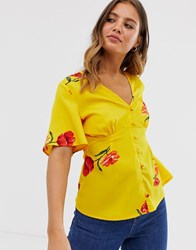 Influence Tea Blouse In Yellow Floral