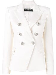 Balmain Double Breasted Blazer White