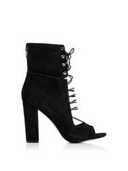 Kendall Kylie Ella Open Toe Lace Up Heels Black