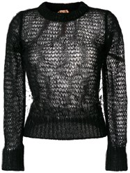 N 21 No21 Open Knit Feather Sweater Black