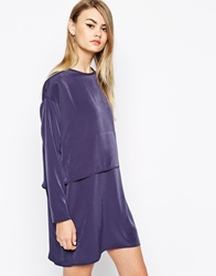 The Laden Showroom X Mirror Mirror Layered Mini Dress Navy