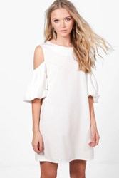 Boohoo Puff Sleeve Cold Shoulder A Line Shift Dress White