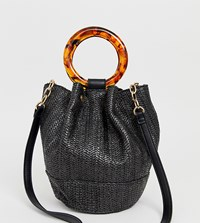 Faith Black Faux Straw Bucket Bag With Tortoise Effect Handle Detail