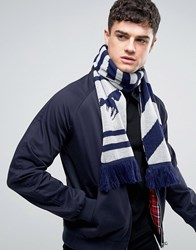 Abuze London Chevron Knitted Scarf With Script Grey
