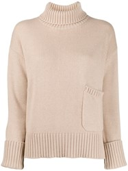 Lamberto Losani Funnel Neck Sweater Neutrals