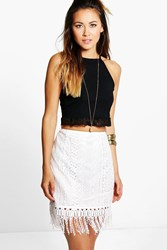 Boohoo Crochet Lace Tassle Trim Mini Skirt Ivory