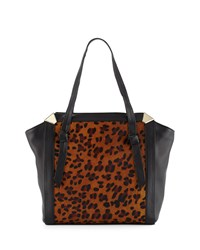 Foley Corinna Portrait Calf Hair Shopper Tote Bag Leopard