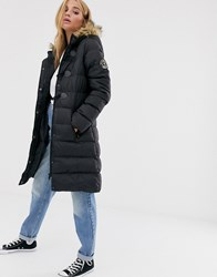 Brave Soul Wizard Long Padded Coat With Faux Fur Hood Black