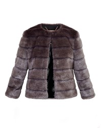 Ted Baker Fabunni Faux Fur Cropped Jacket Brown